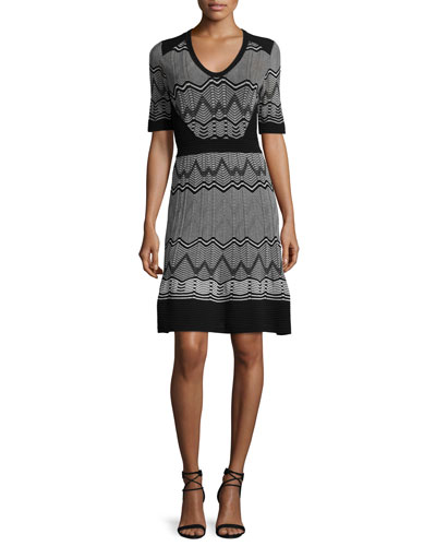 Frequency Zigzag Half-Sleeve Dress