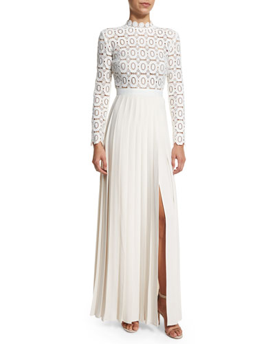 Long-Sleeve Lace & Crepe Dress, Off White