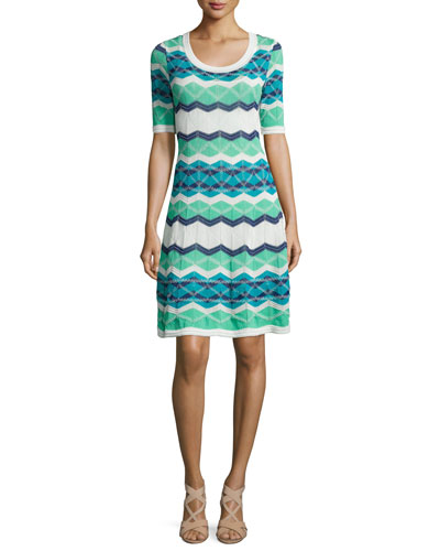 Vanise Zigzag Half-Sleeve Dress