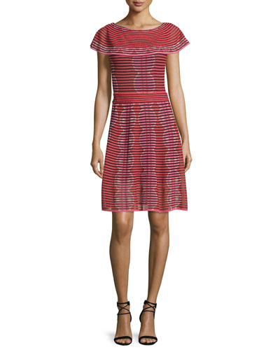 Cap-Sleeve Scallop-Striped Dress, Red