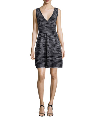 Sleeveless Space-Dye Dress, Black