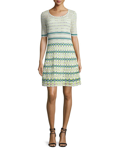 Half-Sleeve Round-Neck Knit Dress, White/Green