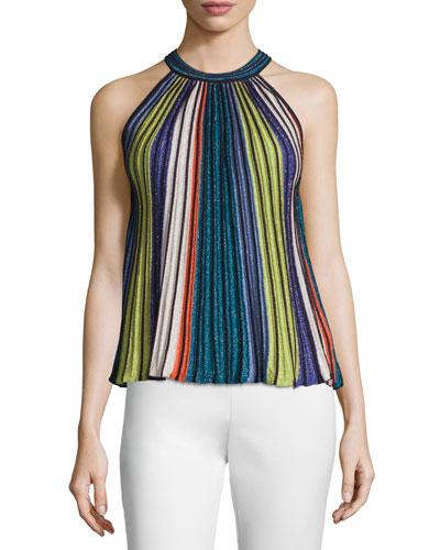 Sleeveless Vertical-Striped Top, Black/Metallic