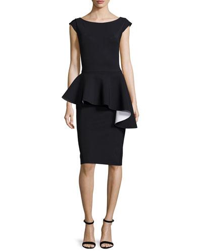 Etheline Cap-Sleeve Ruffled Peplum Dress