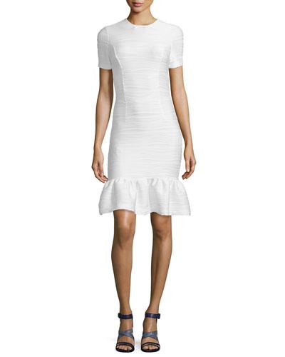 Lotus Wavy Stripe Flounce-Hem Dress, White