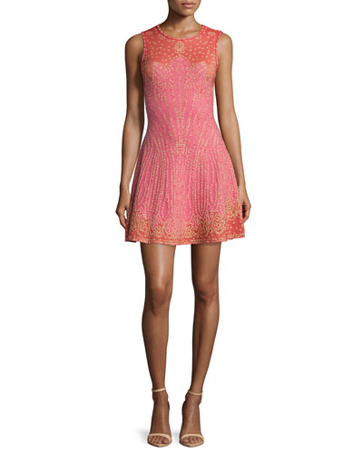 Embellished Fit-&-Flare Dress, Pink
