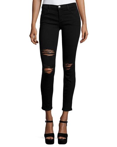 The Stiletto Distressed Skinny Jeans, Black