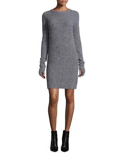 The Easy Long-Sleeve Sweaterdress, Steel