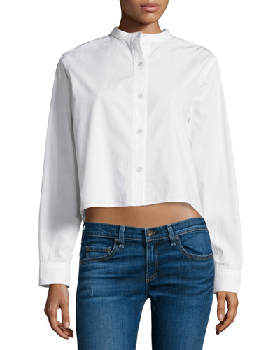 Leeds Button-Front Cropped Blouse, White