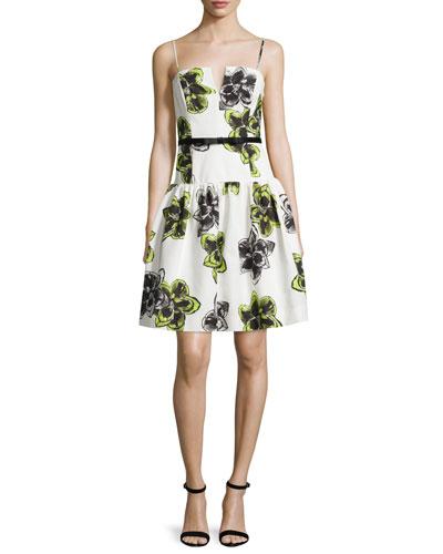 Sleeveless Dropped-Waist Party Dress, Citron