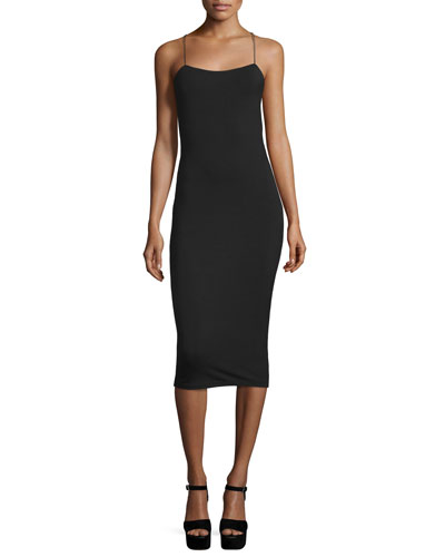 Strappy Stretch Midi Dress, Black