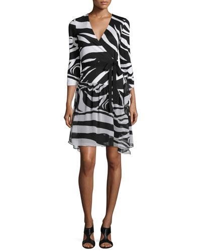 3/4-Sleeve Zebra-Print Wrap Dress, Zebra Simple Black