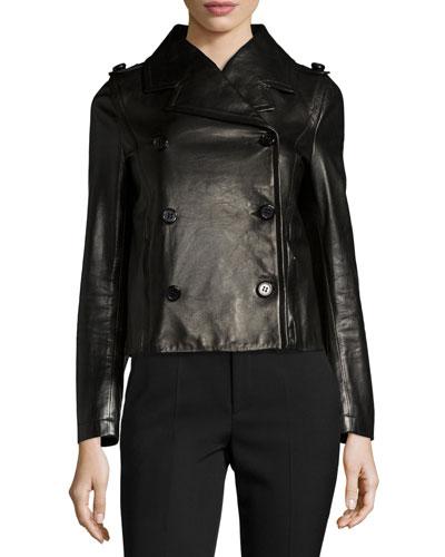 Double-Breasted Leather Moto Jacket