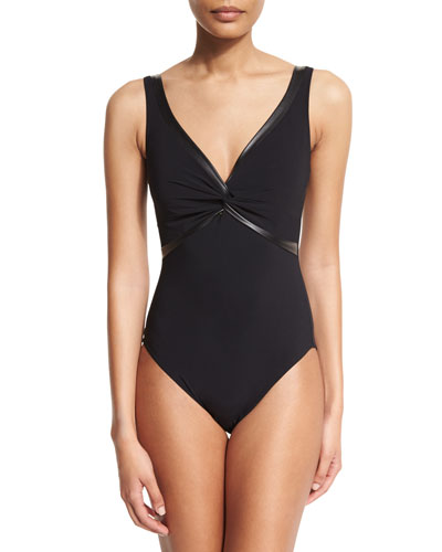 Twisted-Front Pleather-Trim One-Piece Swimsuit, Black
