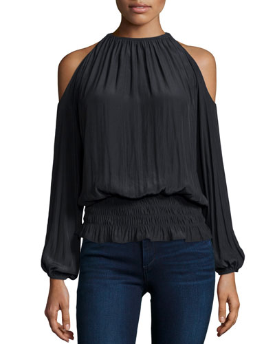 Lauren Cold-Shoulder Smocked-Waist Top