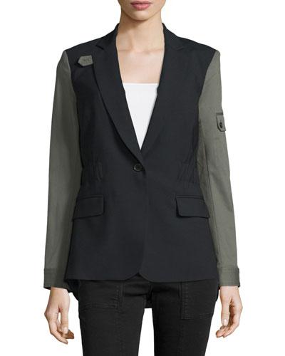 Colorblock Wool-Blend Jacket, Black/Army