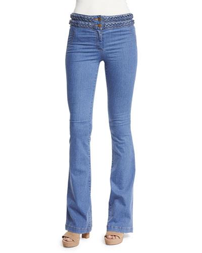 Biscayne Braided-Waist Boot-Cut Jeans, Indigo