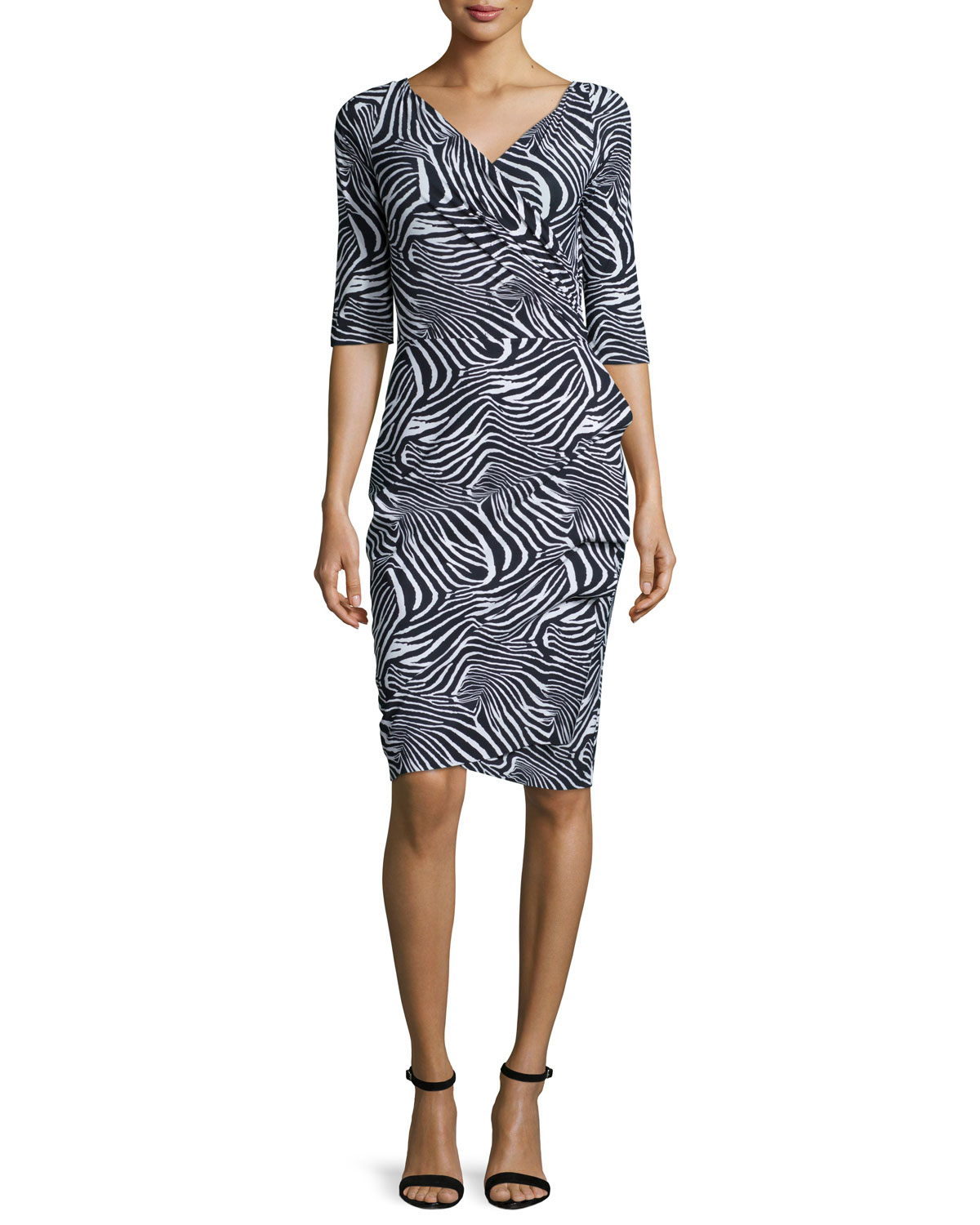 3/4-Sleeve Zebra-Print Ruffle-Front Dress