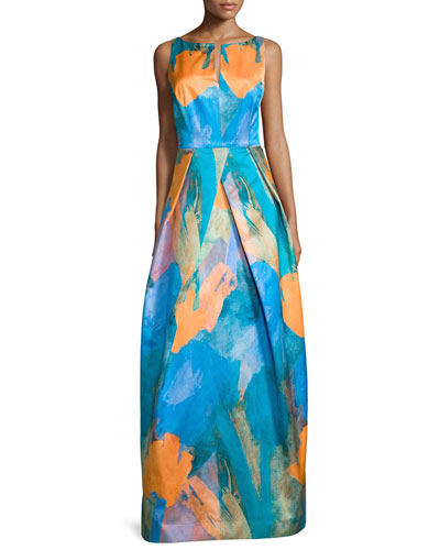 Sleeveless Abstract-Print Gown, Teal