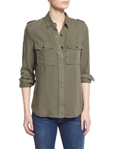 Military Long-Sleeve Shirt, Military Green