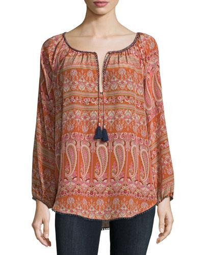 Kamaria Long-Sleeve Paisley-Print Top, Orange Pattern