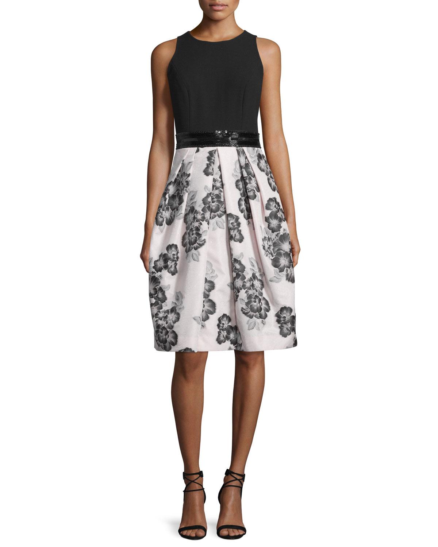 Sleeveless Beaded-Waist Floral-Print Dress