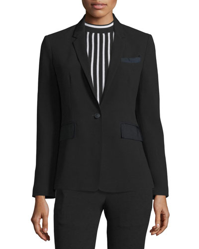 Windsor One-Button Blazer, Black