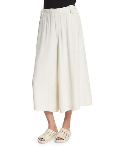 Satin Wide-Leg Culottes, Ivory