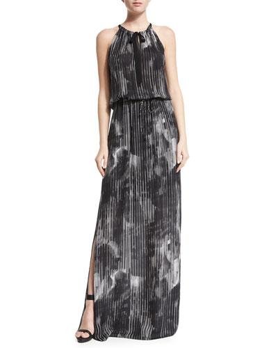 York Halter Striped Maxi Dress
