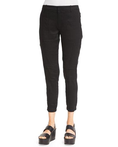 Stretch-Linen Cargo Pants, Black