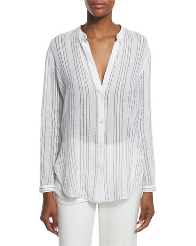 Striped Split-Neck Button-Down Shirt