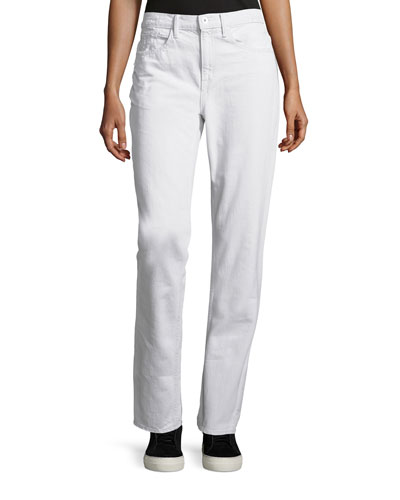 Cropped Cotton Ankle Jeans, White