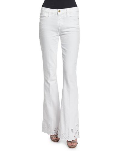 Le High Flare-Leg Eyelet-Hem Jeans, Blanc