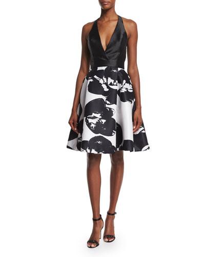 Halter-Neck Two-Tone Dress, Eggshell/Black