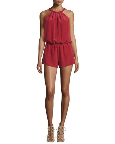 Nasiba Silk Halter Jumpsuit, Brick Red