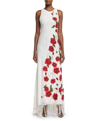 Bonny Sleeveless Lace Floral-Embroidered Dress