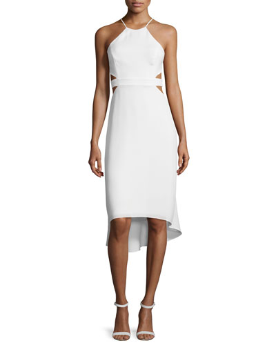 Halter-Neck Dress W/Cutouts, Bone