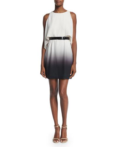 Cold-Shoulder Belted Flowy Dress, Oyster/Black
