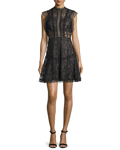 Milly Sleeveless Floral-Embroidered A-Line Dress, Black