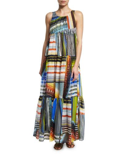 Multi-Stripe Tiered Maxi Dress