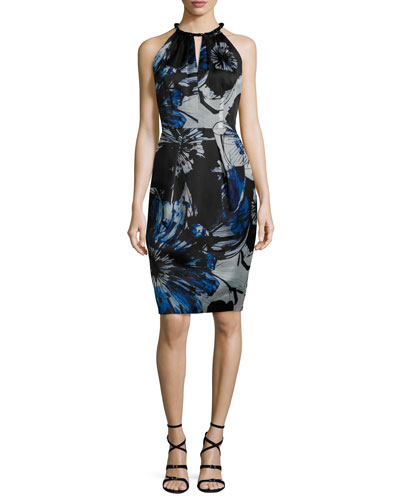 Sleeveless Keyhole-Front Floral Sheath Dress