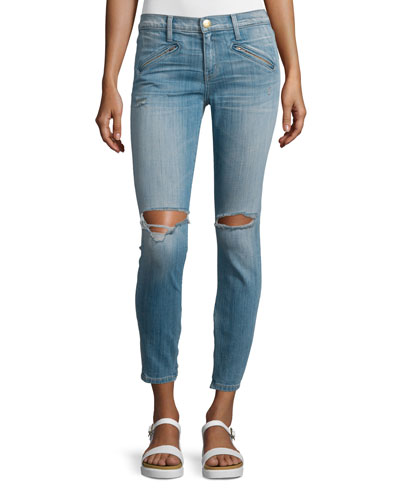 The Silverlake Zip Cropped Skinny Jeans, Ticker Destroy
