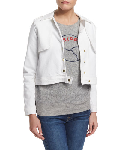 Crop Trench Jacket, Blanc