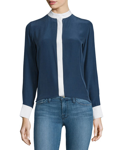 Classic Two-Tone Silk Blouse, Navy