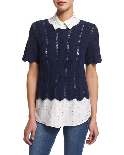 FRAME Crochet Short-Sleeve Boxy Top, Navy