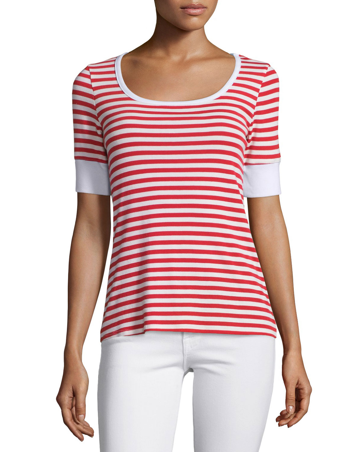 Boatneck Striped Tee, Red Stripe