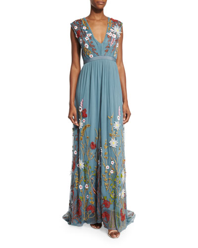 Merrill Floral-Embroidered Sleeveless Maxi Dress