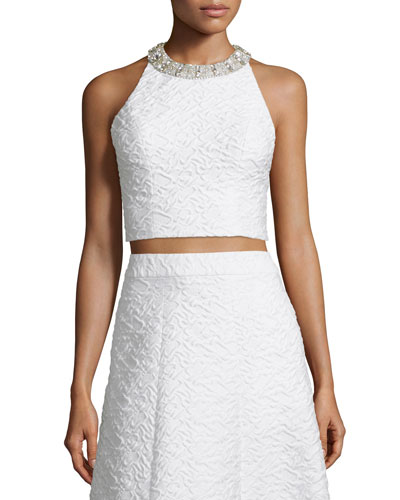 Tru Sleeveless Embellished Crop Top, White