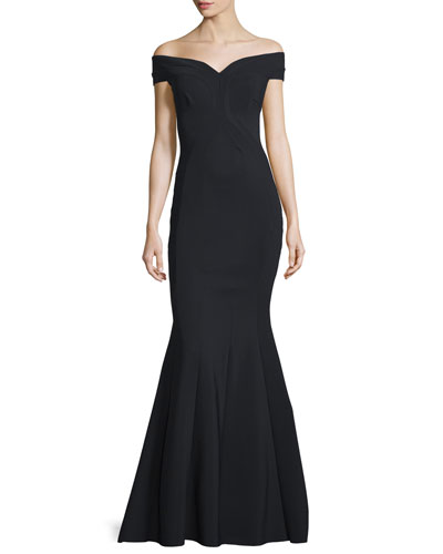 Genny Off-The-Shoulder Sweetheart Mermaid Gown, Nero