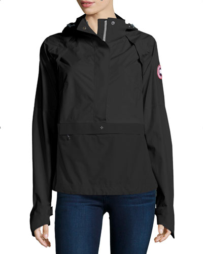 Brunswick Hooded Colorblock Anorak Jacket, Black/Silver Birch